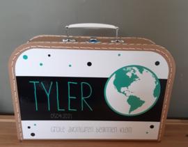 Koffertje met naam *Wereldbol groen* diverse kleuren