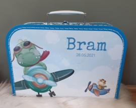 Koffertje met naam * Dino's in vliegtuig *  diverse kleuren