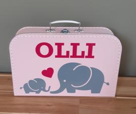 Koffertje met naam *Olifantjes* diverse kleuren