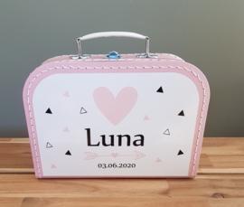 Koffertje met naam *Driehoekjes roze* diverse kleuren