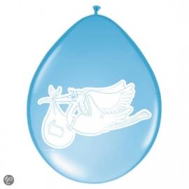 Blauwe ballonnen met afbeelding ooievaar