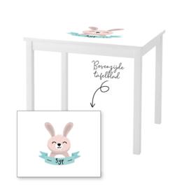 1 of 2 stoelen en tafeltje met naam en konijntje jongen