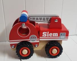 Houten brandweerauto met of zonder naam en rubberen wielen