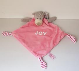 Superzacht tutteldoekje / knuffeldoekje beer roze (met naam)