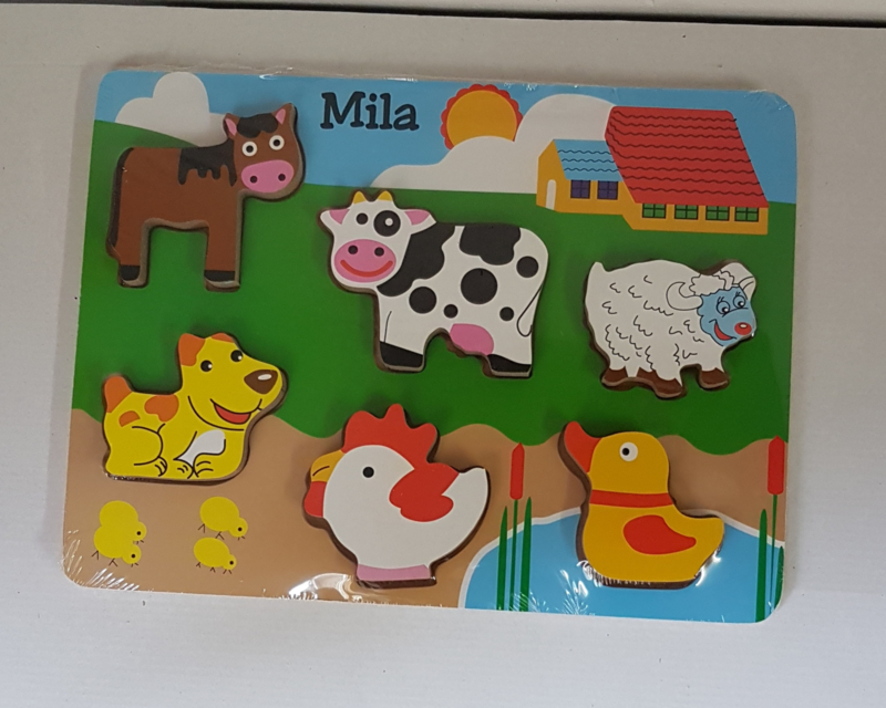 Houten puzzel boerderij dikke stukken (met naam)