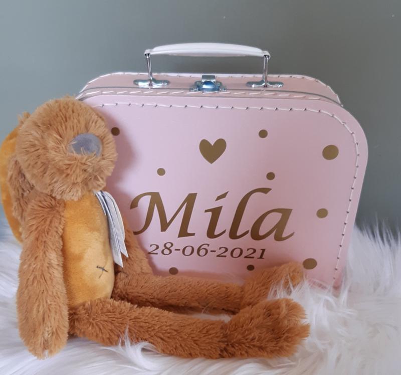 Koffertje met naam en ''Happy Horse'' knuffelkonijn  Richie meisje
