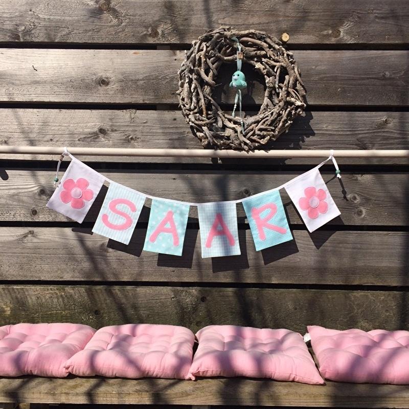 Naamslinger meisje mint/roze
