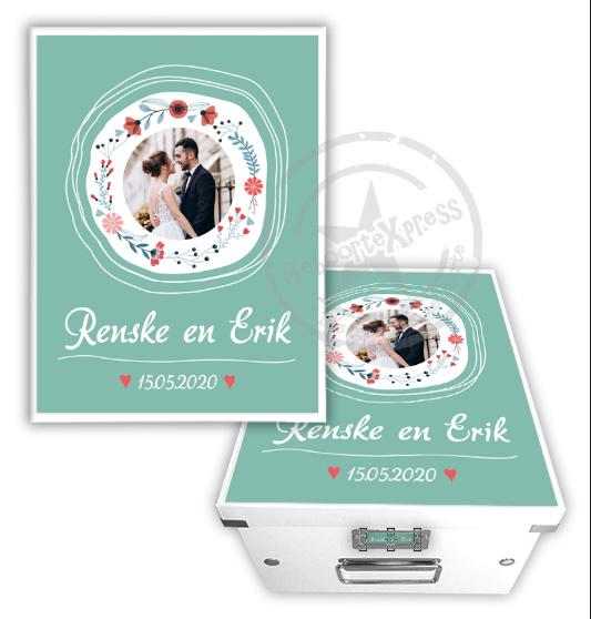 Herinneringsdoos voor bruiloft 'bloemenkrans' diverse achtergrondkleuren