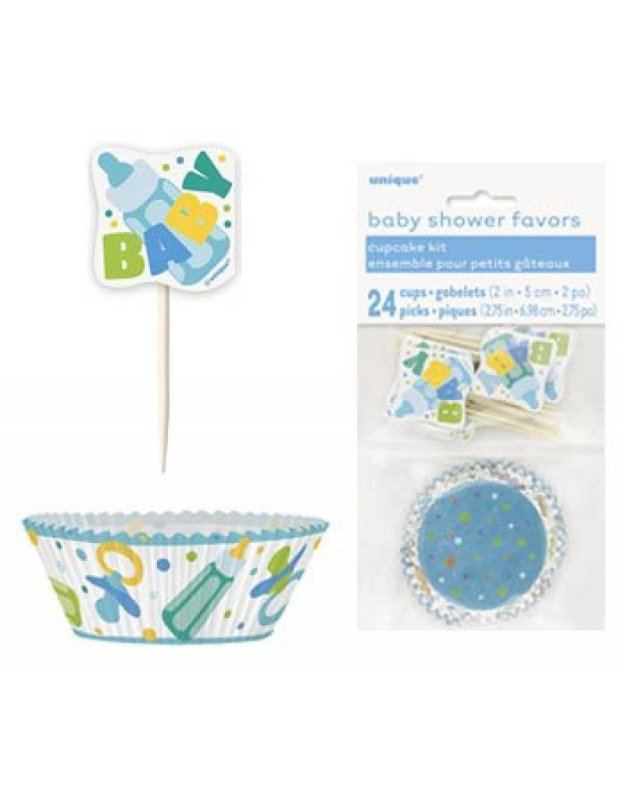 Baby shower cupcake set blauw