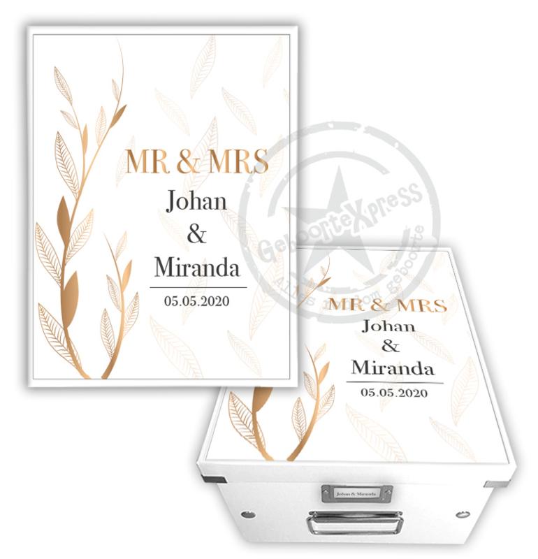 Herinneringsdoos voor bruiloft 'leaves'