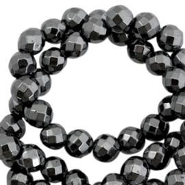 Hematite kralen rond 6mm facet geslepen Anthracite grey