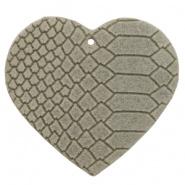 DQ Leer hanger hart Vaporous Grey 5 x 5,5 cm