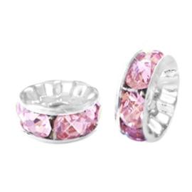 Strass kralen rondellen 8 mm silver-pink