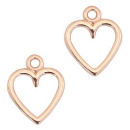 DQ Metaal bedel open hart 14 x 11 mm Rosé goud (nikkelvrij)