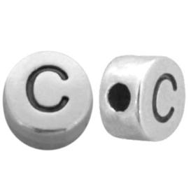 DQ metalen letterkralen # C Antiek zilver (nikkelvrij)