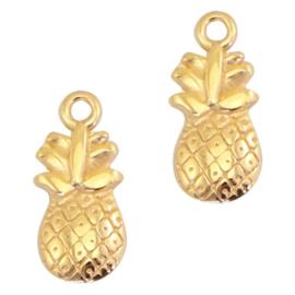 DQ metaal bedel ananas Goud 19 x 9 mm (nikkelvrij)