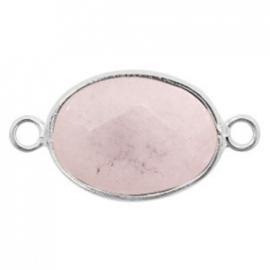 Half edelsteen hangers/tussenstukken ovaal 18x14mm rose quartz Silver-Rose grey