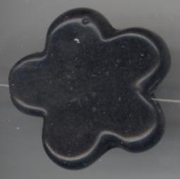Houten kraal zwart bloem