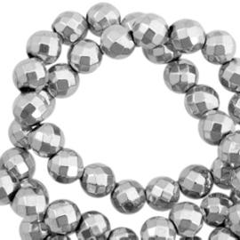 Hematite kralen rond 6mm facet geslepen Light grey
