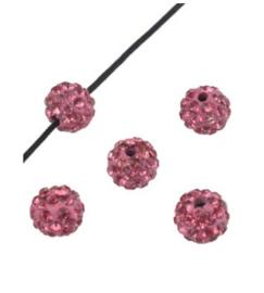 Strasskralen 6 mm licht roze