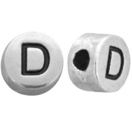 DQ metalen letterkralen # D Antiek zilver (nikkelvrij)