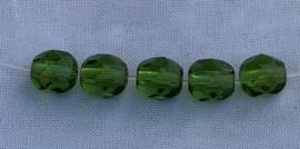 Tjechische facetkralen 6 mm Olivine