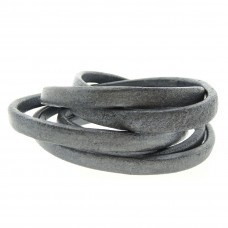 Leer ovaal grijs metallic 5 x 10 mm , per cm