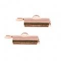 2x eindkap voor weefarmbanden 9 mm Rosé goud (designerskwaliteit)