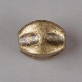 Verzilverde kraal ovaal bewerkt 23 x 17 mm bronskleur