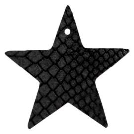 DQ Leer hanger ster Onyx Black 5 x 5 cm
