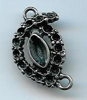 Tussenzetsel ovaal antiek zilver 35 mm
