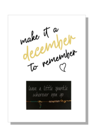 kaart  + envelop + postzegel 'make it a december to remember'