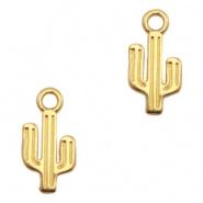 Bedel DQ metaal cactus Goud (nikkelvrij) 15 x 7 mm