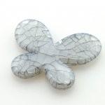 Kunststof kraal vlinder grijs 40 x 35 mm