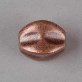 Verzilverde kraal ovaal bewerkt 23 x 17 mm koperkleur