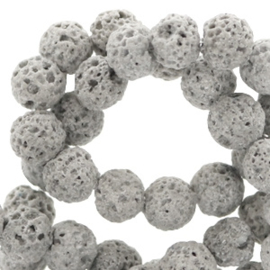 6 mm natuursteen kralen mat Lava Grey