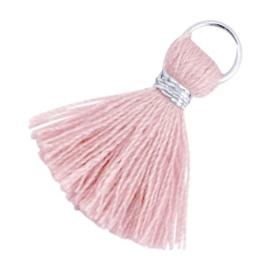 Kwastjes Ibiza style 1,8 mm Zilver-Antique pink