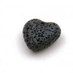 Lavakraal hart zwart 20 mm