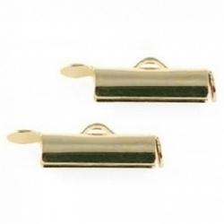 2x eindkap voor weefarmbanden 15 mm goudkleur (designerskwaliteit)