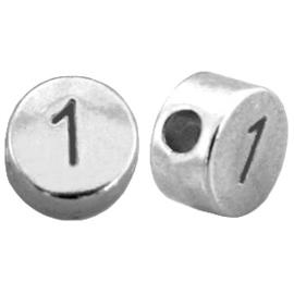 DQ metalen cijferkralen # 1 Antiek zilver (nikkelvrij)