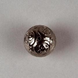 Verzilverde kraal antraciet 18 mm