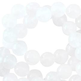 Half edelsteen kralen rond 6mm White
