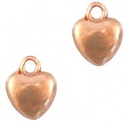 DQ Metaal bedel hartje 6 mm Rosé goud (nikkelvrij)