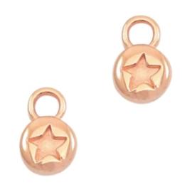 Bedels DQ metaal rond 6mm star Rosé goud (nikkelvrij)