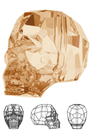 Kraal 5750 Skull Bead schedel 15x13mm Crystal Golden Shadow