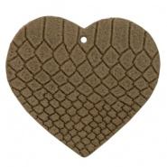 DQ Leer hanger hart Etherea Brown 5 x 5,5 cm