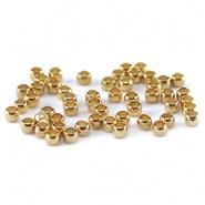 DQ knijpkralen 2,5 mm Gold Plated, 50 stuks