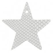 DQ Leer hanger ster Star White 5 x 5 cm