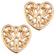 DQ Metaal bedel hart 13 mm Rosé goud (nikkelvrij)