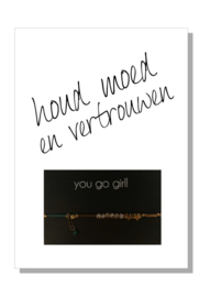 kaart  + envelop + postzegel 'HOUD MOED EN VERTROUWEN'